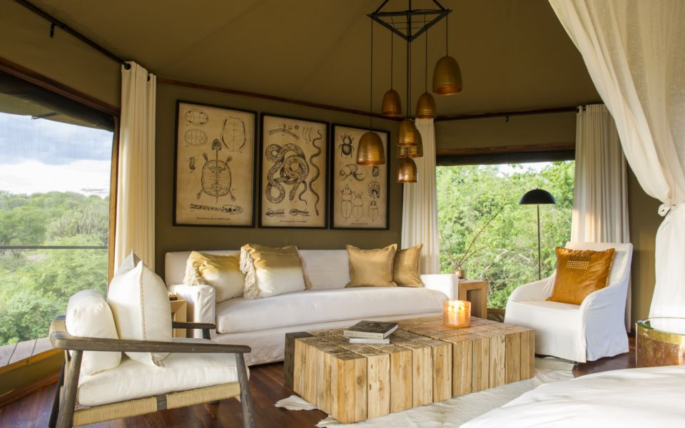 10  Mwiba Lodge Tented Suite Lounge